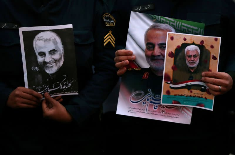 Protest against the assassination of Iranian Major-General Soleimani in front of United Nation office in Tehran