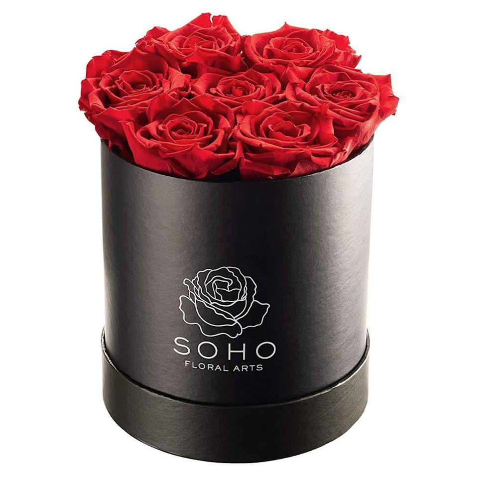 "<p><strong>Soho Floral Arts</strong></p><p>amazon.com</p><p><strong>$69.99</strong></p><p><a href=""https://www.amazon.com/dp/B08C1YQ9BD?tag=syn-yahoo-20&ascsubtag=%5Bartid%7C10063.g.35180644%5Bsrc%7Cyahoo-us"" rel=""nofollow noopener"" target=""_blank"" data-ylk=""slk:Shop Now"" class=""link rapid-noclick-resp"">Shop Now</a></p><p>Fresh flowers come and go, but these gorgeous roses last forever. Each box, available in white or black, comes packed with seven extra-large white, red, hot pink, or light pink roses, preserved to last for up to three years. </p><p><strong>RELATED: </strong><a href=""https://www.goodhousekeeping.com/home/gardening/advice/g2323/best-flower-delivery-service/"" rel=""nofollow noopener"" target=""_blank"" data-ylk=""slk:The Best Flower Delivery Services"" class=""link rapid-noclick-resp"">The Best Flower Delivery Services</a></p>"