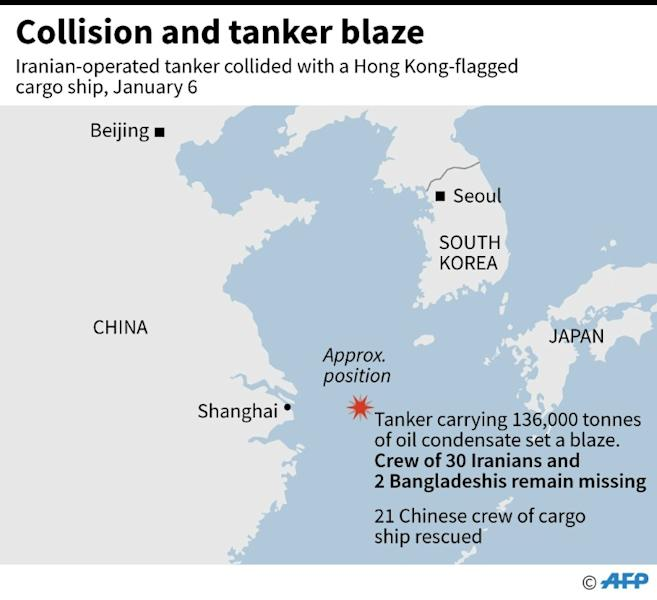 Map showing the site of a ship collision on Saturday