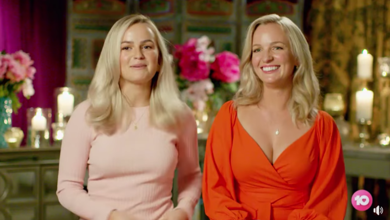 Elly Miles and her sister Becky Miles on set of The Bachelorette Australia 2020
