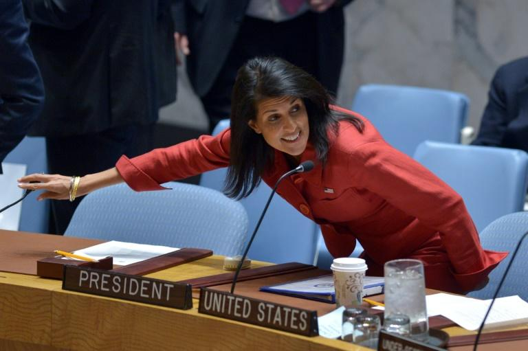 Washington UN envoy Nikki Haley told reporters that China is pushing Pyongyang through back channels to change its behavior and discussing with the United States the timing of a possible new sanctions resolution