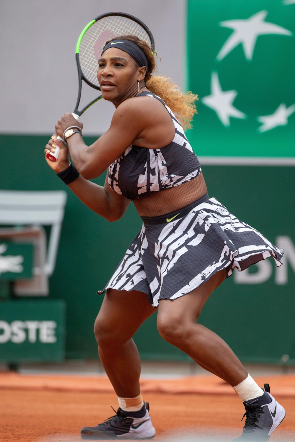 "PARIS, FRANCE May 27.  Serena Williams of the United States in action against Vitalia Diatchenko of Russia on Court Philippe-Chatrier in the Women""u2019s Singles first round match at the 2019 French Open Tennis Tournament at Roland Garros on May 27th 2019 in Paris, France. (Photo by Tim Clayton/Corbis via Getty Images)"