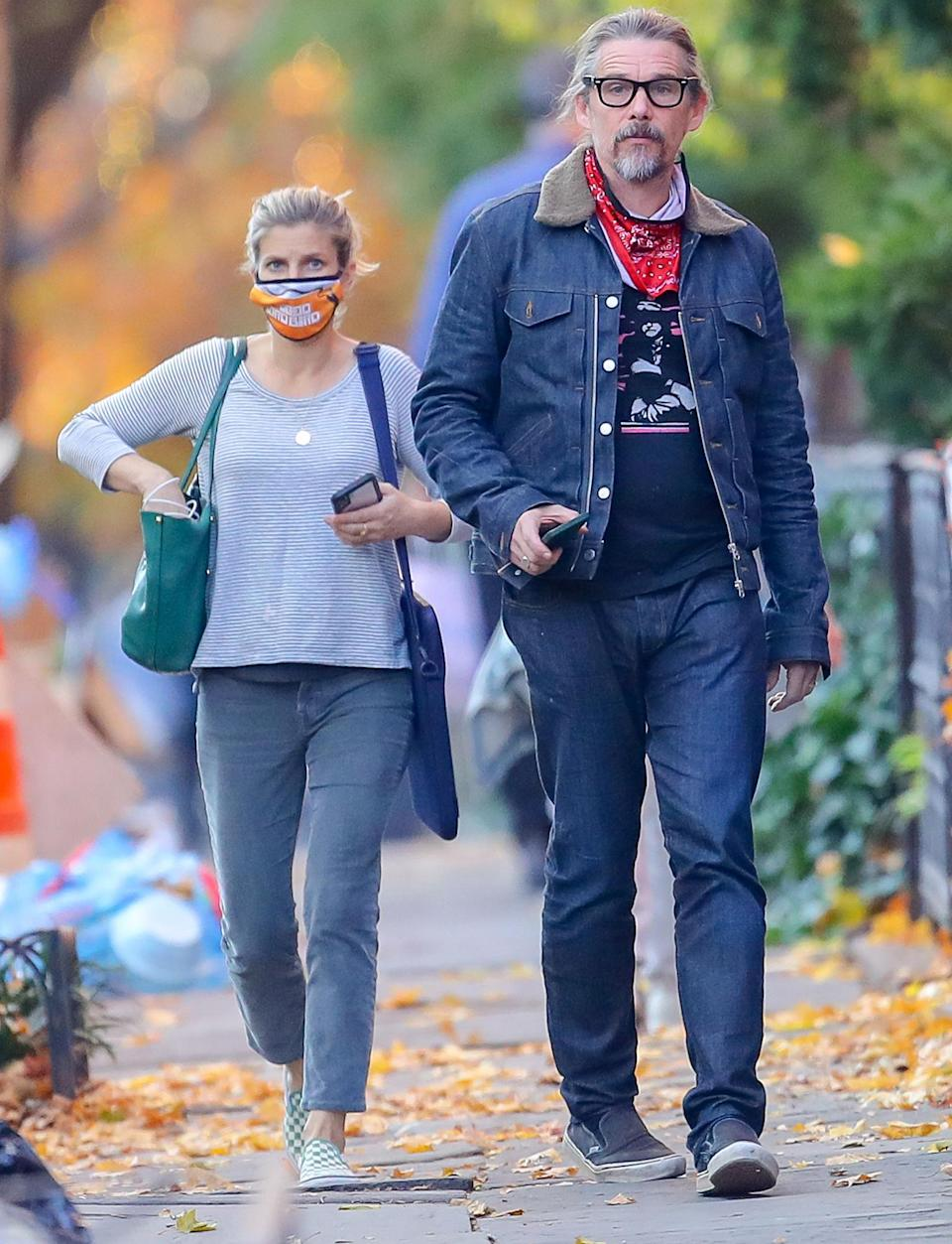 <p>Ethan Hawke and wife Ryan Shawhughes step out for a stroll on Monday in N.Y.C.</p>