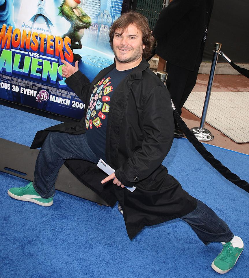"<a href=""http://movies.yahoo.com/movie/contributor/1800180457"">Jack Black</a> at the Los Angeles premiere of <a href=""http://movies.yahoo.com/movie/1809918074/info"">Monsters vs. Aliens</a> - 03/22/2009"