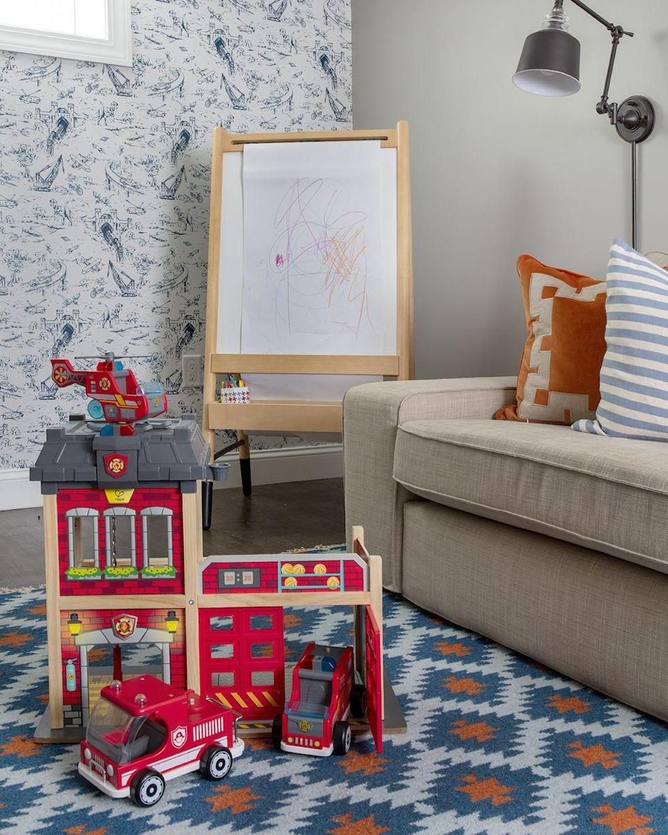 """<p>A basement playroom is the perfect place to have fun with mixing patterns! Whimsical wallpaper and a geometric print rug come together for a playful look that banishes the basement blahs.</p><p><strong>See more at <a href=""""http://www.elementsofstyleblog.com/2019/10/henrys-big-boy-room-reveal.html"""" rel=""""nofollow noopener"""" target=""""_blank"""" data-ylk=""""slk:Elements of Style"""" class=""""link rapid-noclick-resp"""">Elements of Style</a>.</strong></p><p><a class=""""link rapid-noclick-resp"""" href=""""https://go.redirectingat.com?id=74968X1596630&url=https%3A%2F%2Fwww.walmart.com%2Fip%2FUnique-Loom-Geometric-Trellis-Frieze-Modern-Geometric-Area-Rug-or-Runner%2F477449228&sref=https%3A%2F%2Fwww.redbookmag.com%2Fhome%2Fg36061437%2Fbasement-ideas%2F"""" rel=""""nofollow noopener"""" target=""""_blank"""" data-ylk=""""slk:SHOP RUGS"""">SHOP RUGS </a></p>"""