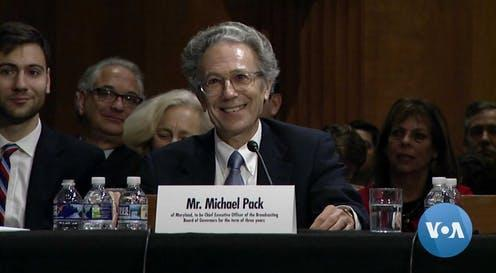 """<span class=""""caption"""">Michael Pack at his confirmation hearing in Washington, September 2019.</span> <span class=""""attribution""""><span class=""""source"""">VOA</span></span>"""