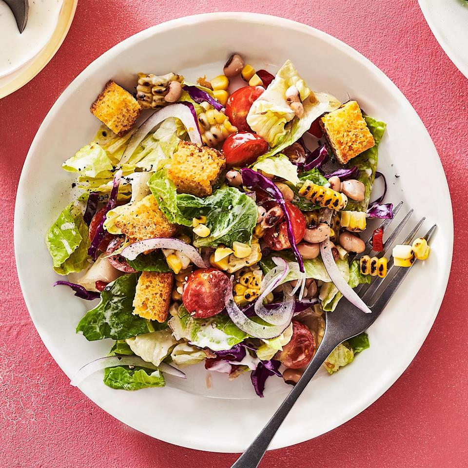 <p>At Handsome Hog, his restaurant in St. Paul, Minnesota, Justin Sutherland offers this chopped salad topped with any barbecued meat on the menu. The chef recommends brisket--it takes this already Southern-inspired salad a step further.</p>