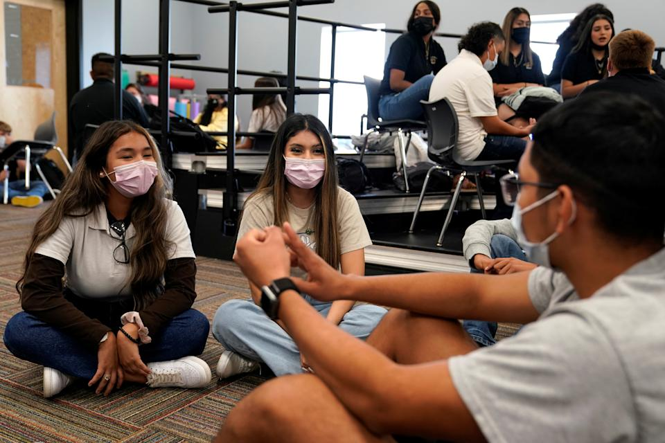 Students wear masks during class to prevent the spread of the coronavirus disease (COVID-19) at Santa Fe South High School where masks are required, in Oklahoma City, Oklahoma, U.S., September 1, 2021. REUTERS/Nick Oxford