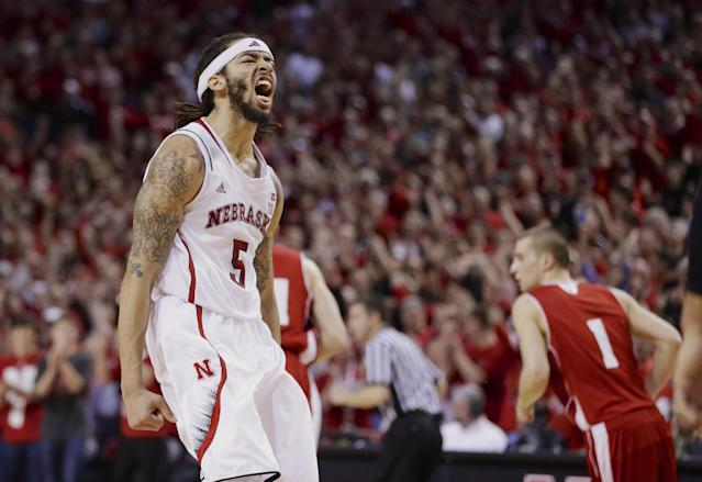 Nebraska's Terran Petteway (5) reacts after scoring in the second half of an NCAA college basketball game against Wisconsin in Lincoln, Neb., Sunday, March 9, 2014. Nebraska won 77-68. (AP Photo/Nati Harnik)