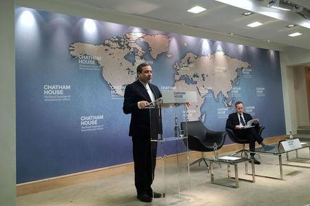 Iran's Deputy Foreign Minister Abbas Araqchi speaking at the Chatham House think tank in London