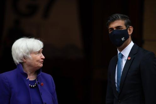"""<span class=""""caption"""">US and UK finance ministers Janet Yellen and Rishi Sunak at G7 meeting in London. </span> <span class=""""attribution""""><span class=""""source"""">EPA</span></span>"""