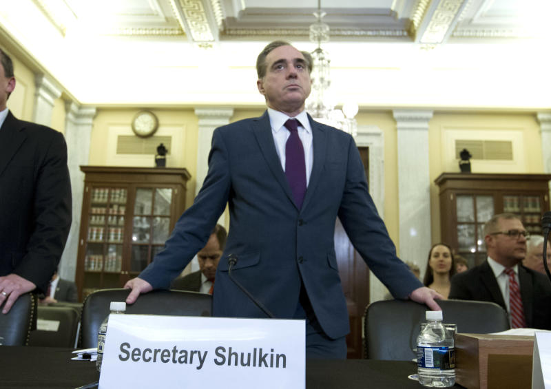 Veterans Affairs Secretary David Shulkin arrives to testify on veterans programs before the Senate Committee on Veterans Affairs at Capitol Hill, Wednesday, March 21, 2018, in Washington. (AP Photo/Jose Luis Magana)