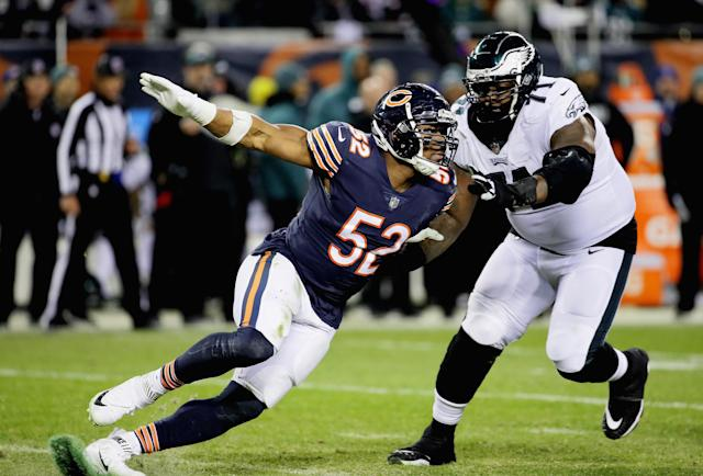 Khalil Mack led a dominant Bears defense that fizzled out when their offense failed them in the playoffs. (Getty)