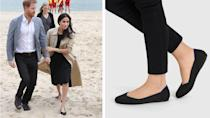 """<p>These gorgeous flat shoes aren't just comfortable and stylish, they're fully sustainable too. <br>Meghan made this brand a global name after wearing them in Melbourne during the Australian royal tour and just hours later, the $200 shoes made from plastic bottles disguarded in the ocean had sold out. <br>If they're good enough for Meghan, these flats are good enough for us.<br>Source: Getty/<a rel=""""nofollow noopener"""" href=""""https://rothys.com/"""" target=""""_blank"""" data-ylk=""""slk:Rothy's"""" class=""""link rapid-noclick-resp"""">Rothy's</a> </p>"""