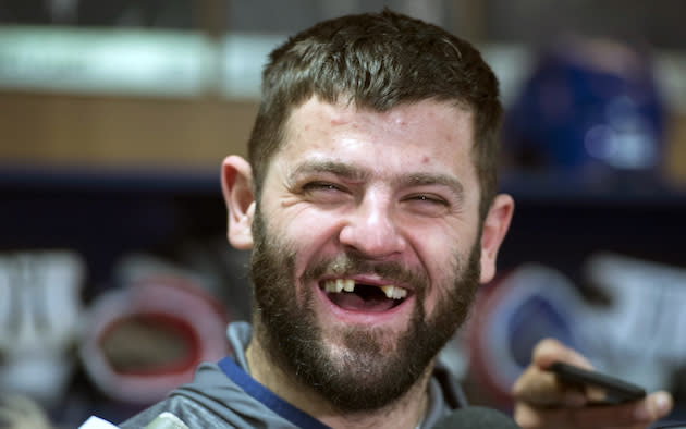 Montreal Canadiens' Alexander Radulov laughs as he talks with reporters in Brossard, Que., Monday, April 24, 2017. The Canadiens were eliminated by the New York Rangers in first round of NHL playoffs. THE CANADIAN PRESS/Paul Chiasson