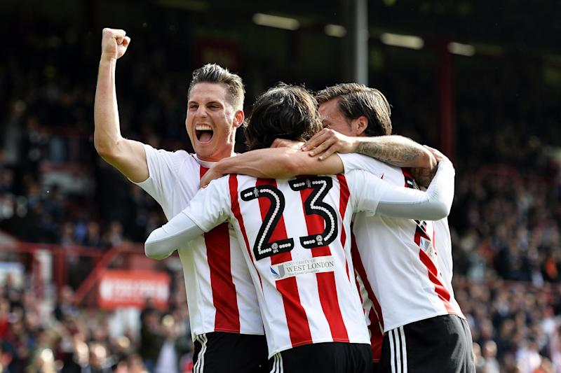 Buzzing bees: Jota celebrates the first of his double: Getty Images