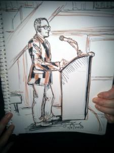 Sketch of an emcee speaking
