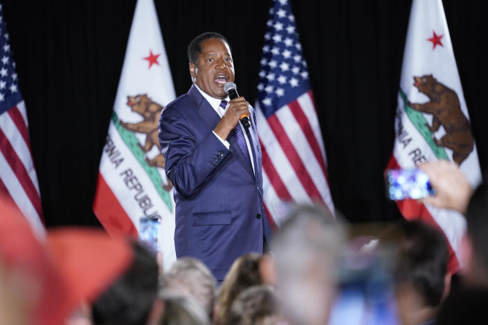 Republican conservative radio show host Larry Elder speaks after losing the California gubernatorial recall election Tuesday, Sept. 14, 2021, in Costa Mesa, Calif. The rare, late-summer election, which challenged California Gov. Gavin Newsom, emerged as a national battlefront on issues from COVID-19 restrictions to climate change. (AP Photo/Ashley Landis)