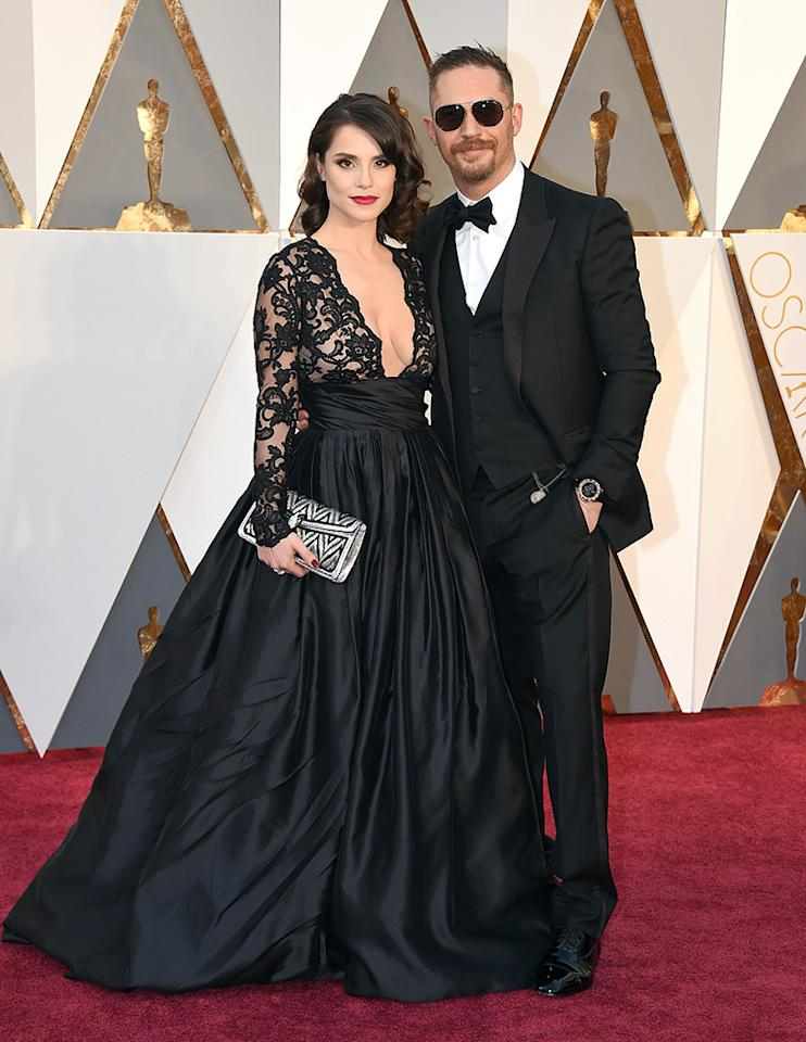 Charlotte Riley and Tom Hardy attend the 88th Annual Academy Awards at the Dolby Theatre on February 28, 2016, in Hollywood, California.