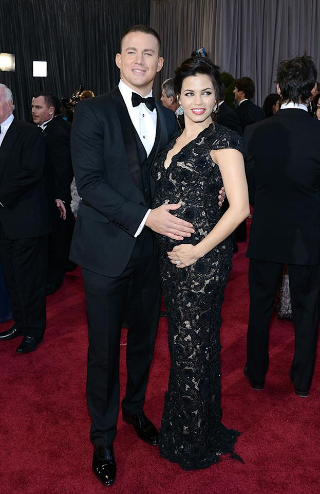 Channing Tatum and Jenna Dewan arrive at the Oscars in Hollywood, California, on February 24, 2013.