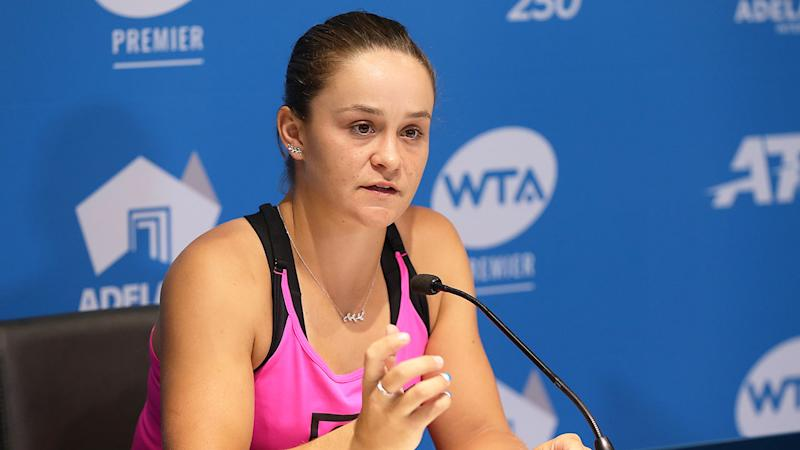 Seen here, Ash Barty talks with reporters during a press conference.