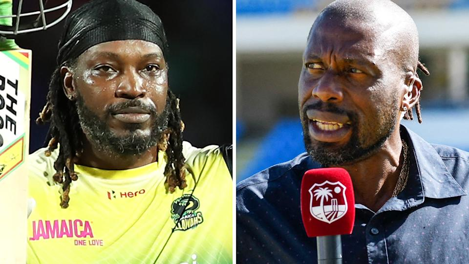 Chris Gayle, left, was furious after criticism from Curtly Ambrose, right.
