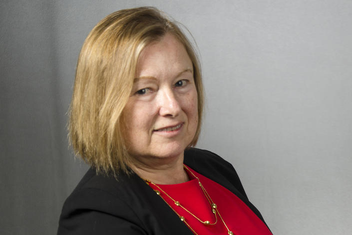 In this image provided by the Voice of America, Amanda Bennett poses for a photo on Nov. 16, 2016, in Washington. Bennett, the director of Voice of America and her deputy Sandy Sugawara resigned Monday, June 15, 2020, following recent clashes with the Trump administration. The pair announced they were leaving the organization as Trump ally and conservative filmmaker Michael Pack takes over leadership of the agency that oversees VOA. (Magda Hishmeh/Voice of America via AP)