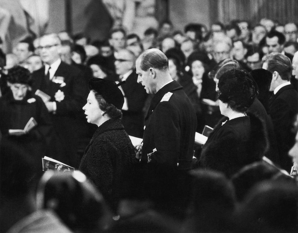 <p>Queen Elizabeth at Winston Churchill's funeral in 1965.</p>