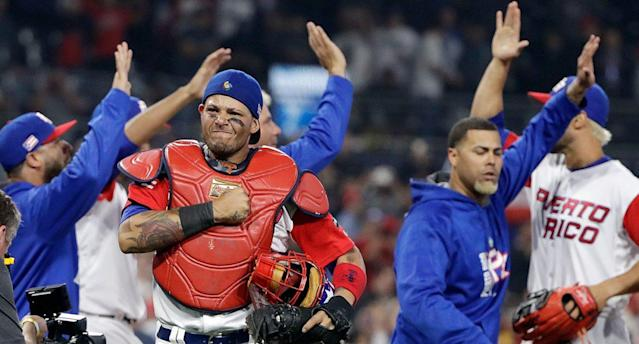 Yadier Molina and team Puerto Rico during the 2017 World Baseball Classic. (AP)