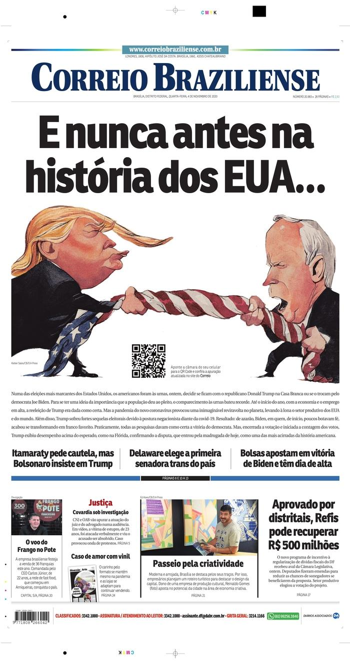 "CORREIO BRAZILIENSE, Published in Brasilia, Brazil (Courtesy <a href=""https://www.newseum.org/todaysfrontpages/"" rel=""nofollow noopener"" target=""_blank"" data-ylk=""slk:Newseum"" class=""link rapid-noclick-resp"">Newseum</a>)"