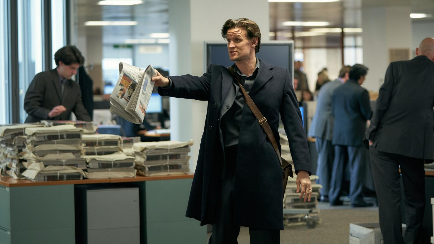 Matt Smith plays Observer journalist Martin Bright in 'Official Secrets'. (Credit: eOne/Robert Viglasky)