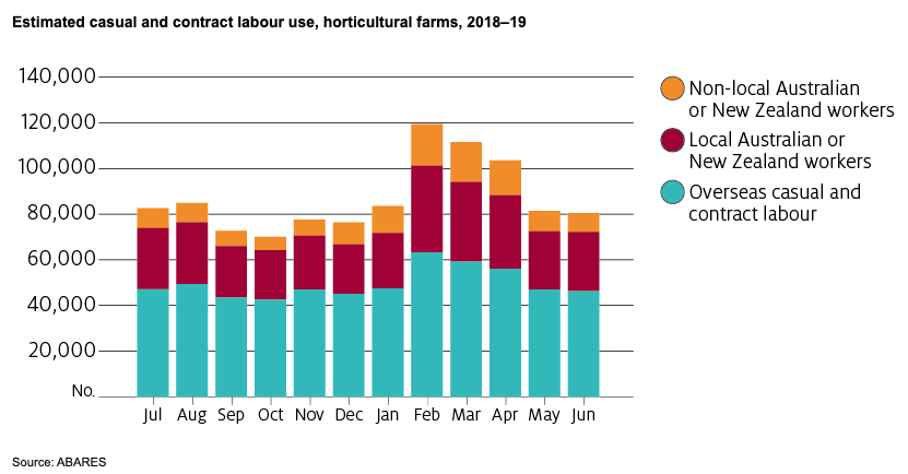 A chart of estimated casual and contract labour use, horticultural farms, 2018-19, from ABARES.