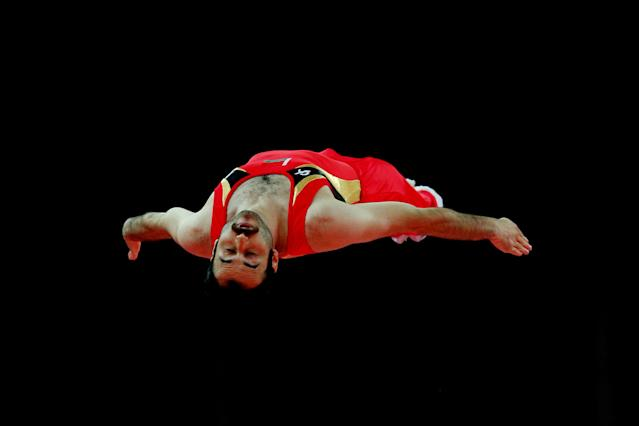 LONDON, ENGLAND - AUGUST 03: Viachaslau Modzel of Belarus competes on the Men's Trampoline during Day 7 of the London 2012 Olympic Games at North Greenwich Arena on August 3, 2012 in London, England. (Photo by Cameron Spencer/Getty Images)