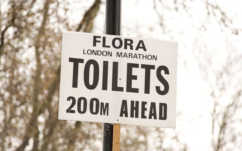 Sign for toilets at the London Marathon