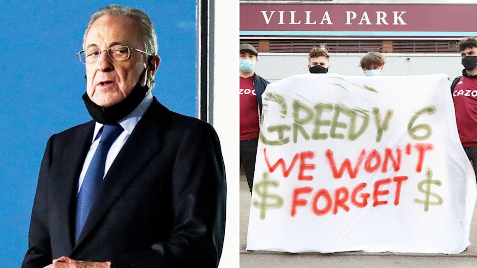 Florentino Perez (pictured left) during a Real Madrid match and Aston Villa fans (pictured right) protesting against the Super League.
