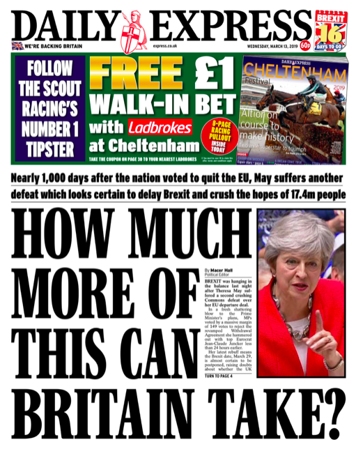 "<p>The Daily Express asks how much more Britain can take and suggests that any decision made by Parliament that blocks Britain leaving the EU or tries to seek a second option from voters ""will be treachery"". (Twitter) </p>"