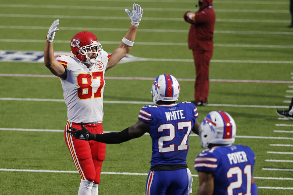 Kansas City Chiefs' Travis Kelce, left, celebrates his touchdown during the first half of an NFL football game against the Buffalo Bills, Monday, Oct. 19, 2020, in Orchard Park, N.Y. (AP Photo/Jeffrey T. Barnes)