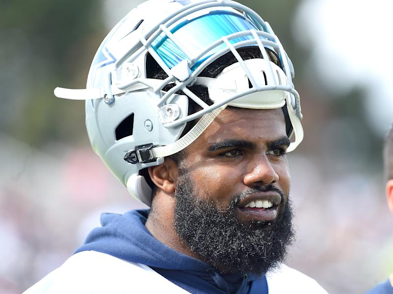 Ezekiel Elliott won't see game action until Week 7 if his suspension holds firm. (Getty Images)