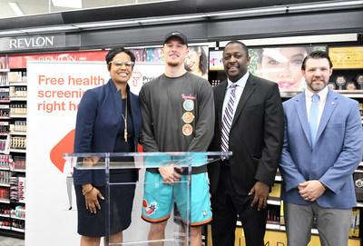 State Representative Morgan Cephas; Donte DiVincenzo, NBA point guard for the Milwaukee Bucks and two-time NCAA champion with the Villanova Wildcats; Garth Graham, M.D., vice president of community health and impact at CVS and president of the Aetna Foundation; and John Strouse, District Leader, CVS Pharmacy attend a Project Health screening event on Friday, Sept. 20. Friday's event was one of 48 free health screenings taking place in the Philadelphia area between now and the end of the year.