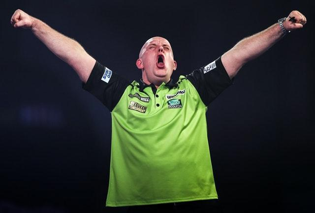 World number one Michael van Gerwen, pictured, edged out Joe Cullen in the last round (Kieran Cleeves/PA)