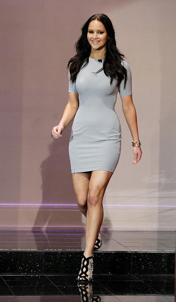 """Jennifer Lawrence recently lashed out about Hollywood's impossible weight standards, saying she would be considered """"obese"""" among her peers in the biz. Well, she looked nothing short of perfect to us when she donned this blueish-gray Alexander Wang mini – along with funky Alexandre Birman sandals – for an appearance on """"The Tonight Show."""" Making the dress extra flattering were its smooth lines – it fit her like a glove! – and the color, which really complemented her new, dark tresses. (11/19/2012)"""