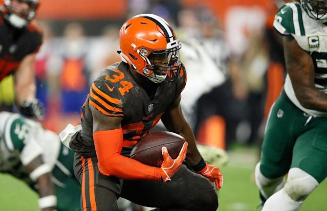 "Carlos Hyde will no longer wear the brown and orange for the rest of the season. (Photo by <a class=""link rapid-noclick-resp"" href=""/nba/players/4287/"" data-ylk=""slk:Joe"">Joe</a> Robbins/Getty Images)"