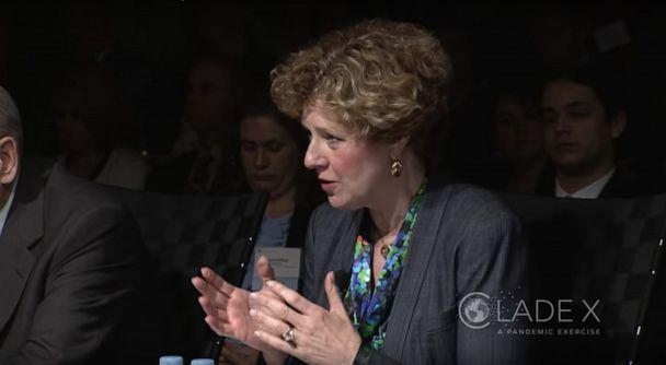 PHOTO: Rep. Susan Brooks participates in the Center for Health Security's 'Clade X' exercise, May 15, 2018. (Center for Health Security via YouTube, FILE)