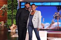 <p>Guest host Tiffany Haddish welcomes longtime friend and actor Marlon Wayans on Monday's taping of <em>The Ellen DeGeneres Show</em> in Burbank, California.</p>