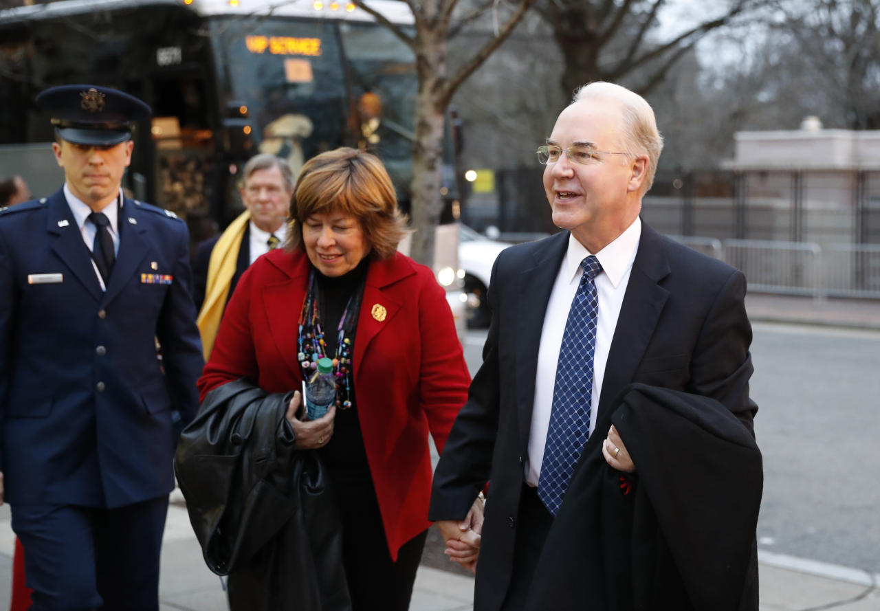 <p> Health and Human Services Secretary-designate, Rep. Tom Price, R-Ga., and his Elizabeth Clark arrive for a church service at St. John's Episcopal Church across from the White House in Washington, Friday, Jan. 20, 2017, on Donald Trump's inauguration day. (AP Photo/Alex Brandon) </p>