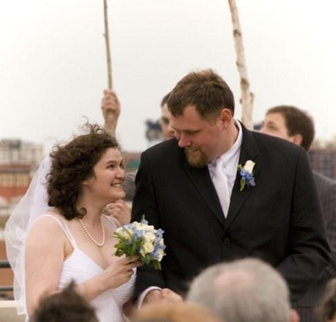 The author and her husband on their wedding day