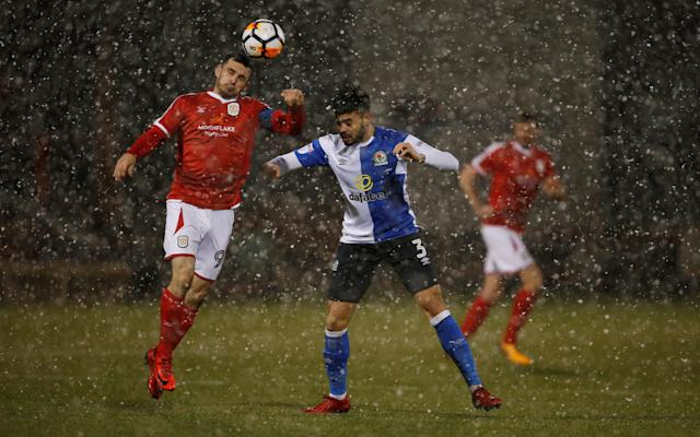 Soccer Football - FA Cup Second Round Replay - Crewe Alexandra vs Blackburn Rovers - The Alexandra Stadium, Crewe, Britain - December 13, 2017 Crewe Alexandra's Chris Dagnall in action with Blackburn Rovers' Derrick Williams Action Images/Craig Brough