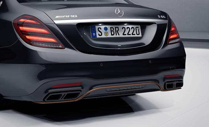 """<p>To mark the end of the V-12 era, Mercedes-AMG is launching this Final Edition model of <a href=""""https://www.caranddriver.com/mercedes-amg/s63-s65"""" rel=""""nofollow noopener"""" target=""""_blank"""" data-ylk=""""slk:the S65 sedan"""" class=""""link rapid-noclick-resp"""">the S65 sedan</a>, complete with stylish copper and carbon fiber accents and a very limited run of just 130 units available worldwide. The exterior will be finished in Obsidian black metallic paint and outfitted with matte bronze accents, bronze 20-inch wheels, and an AMG crest on the rear roof pillar.</p>"""