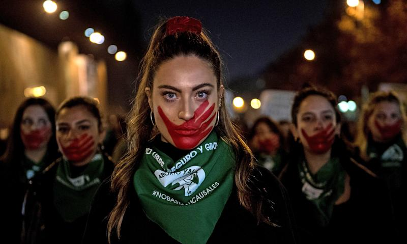 Activists march during a demonstration in favour of free abortion in Santiago, Chile, on July 25, 2019. (Martin Bernetti / AFP via Getty Images)