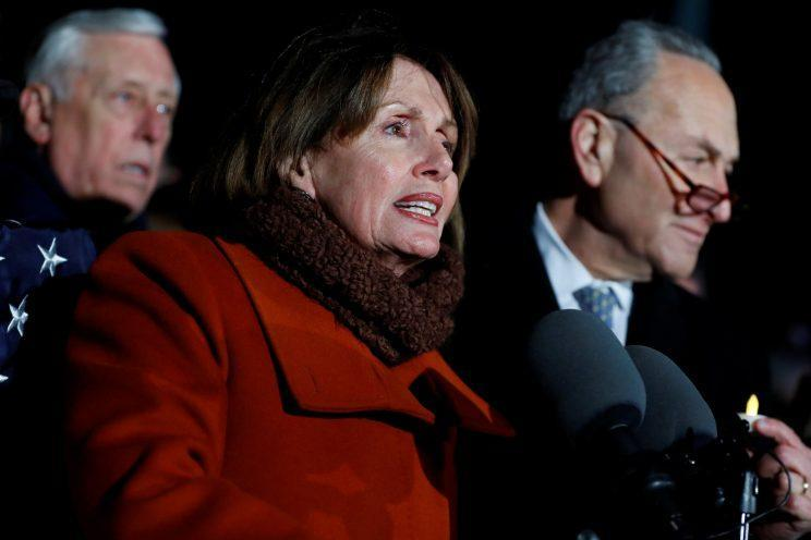 Nancy Pelosi during a rally against President Trump's travel ban outside the Supreme Court earlier this week. (Aaron P. Bernstein/Reuters)